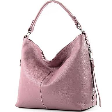 modamoda de - ital. Ledertasche Shopper Damentasche Bürotasche Schultertasche Leder T160, Präzise Farbe:Altrosa modamoda de - Made in Italy