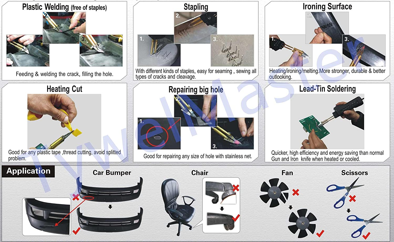 soldador plástico práctico, herramienta de reparación de parachoques del coche, máquina caliente de las engrapadoras de HPW, máquina de soldadura plástica ...