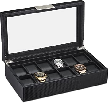 amazon com watch box for men 12 slot luxury carbon fiber design watch box for men 12 slot luxury carbon fiber design display case large holder