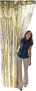 Fun Express - Gold Metallic Fringe Curtain for Party - Party Decor - Door Decor - Door Borders & Curtains - Party - 1 Piece
