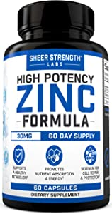 Sheer High Potency Zinc 30mg Capsules - Organic Zinc Supplements with Selenium for Men & Women - Daily Vitamin Supplement for Maximum Nutrient Absorption & Energy Support - 60 Gluten Free Veggie Caps