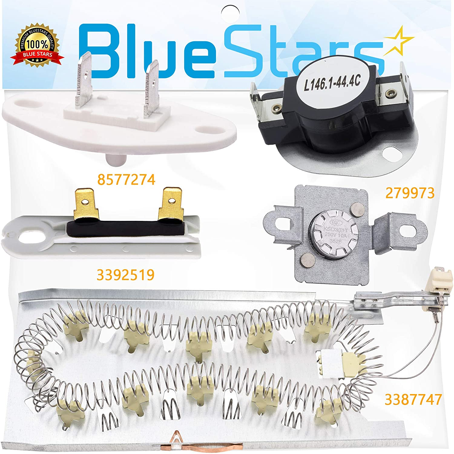 3387747 & 279973 & 3392519 & 8577274 Dryer Heating Element and Thermal Cut-off Fuse Kit Replacement by Blue Stars – Exact Fit For Whirlpool & Kenmore Dryers