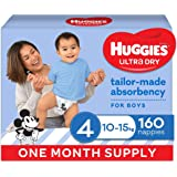 HUGGIES Ultra-Dry Nappies, Boys, Size 4 (10-15kg), One-Month Supply, 160 count