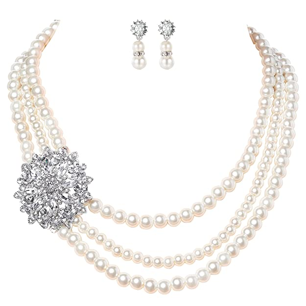 BABEYOND 1920s Gatsby Pearl Necklace Vintage Bridal Pearl Necklace Earrings Jewelry Set Multilayer Imitation Pearl Necklace with Brooch (Style 3)
