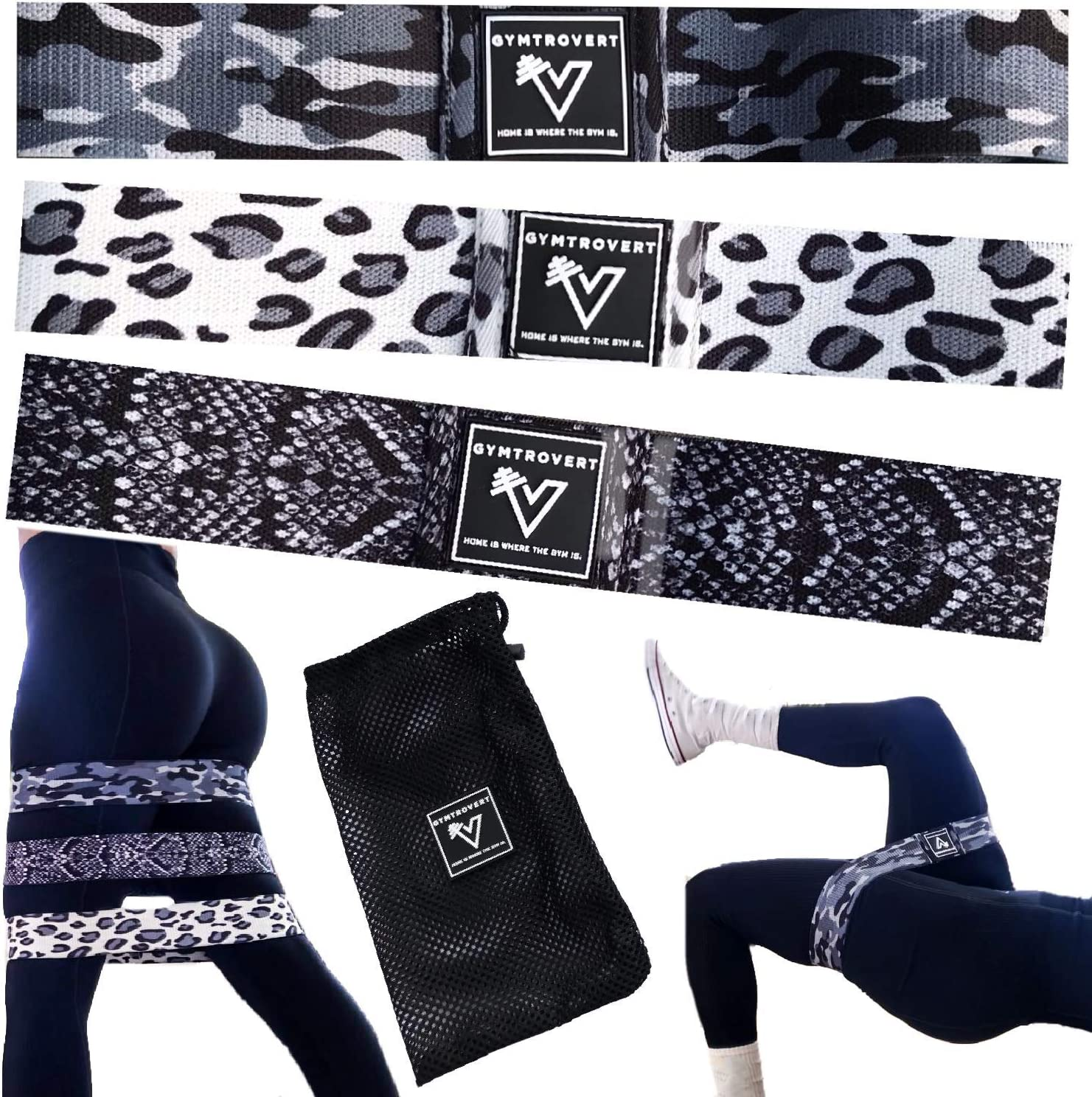"""GYMTROVERT Booty Bands Set of 3 Nonslip Fabric Resistance Exercise Loops to Squat Hip Thrust Glute Leg Workout at Home and Gym Build Muscle 2"""" Camo Leopard Snake Print Fitness Gear with Mesh Carry Bag"""