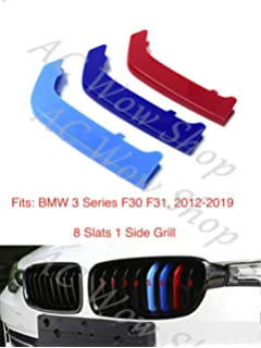 Compatible with B M W 1 series F20 F21 11 Bars Grill Bonnet Hood Radiator Stripes Slat Covers Inserts Trim Clips M Power Sport Performance Tech Paket Colour Grilles Caps Badge