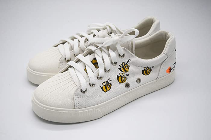 689f2ecb768 Hand Painted Shoes with Honey Bees Floral Pattern-Unique Women Vegan Shoes  Tied-Limited Edition Flower Lace Up White Washable Canvas Sneakers for  Wedding ...