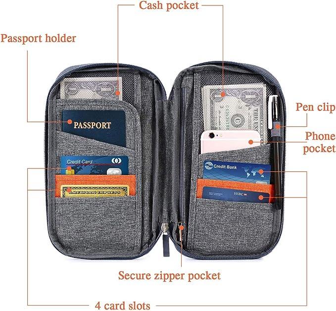 Portefeuille pour Passeport Cartes Billets Organiseur de Voyage en Oxford R/ésistant Pochette de Rangement /à Domicile Porte-Passeport pour D/éplacement Gris