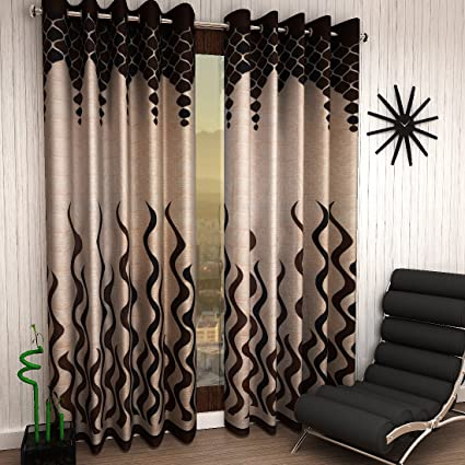 Home Sizzler 2 Piece Eyelet Polyester Door Curtain - 7ft (84 inch), Brown
