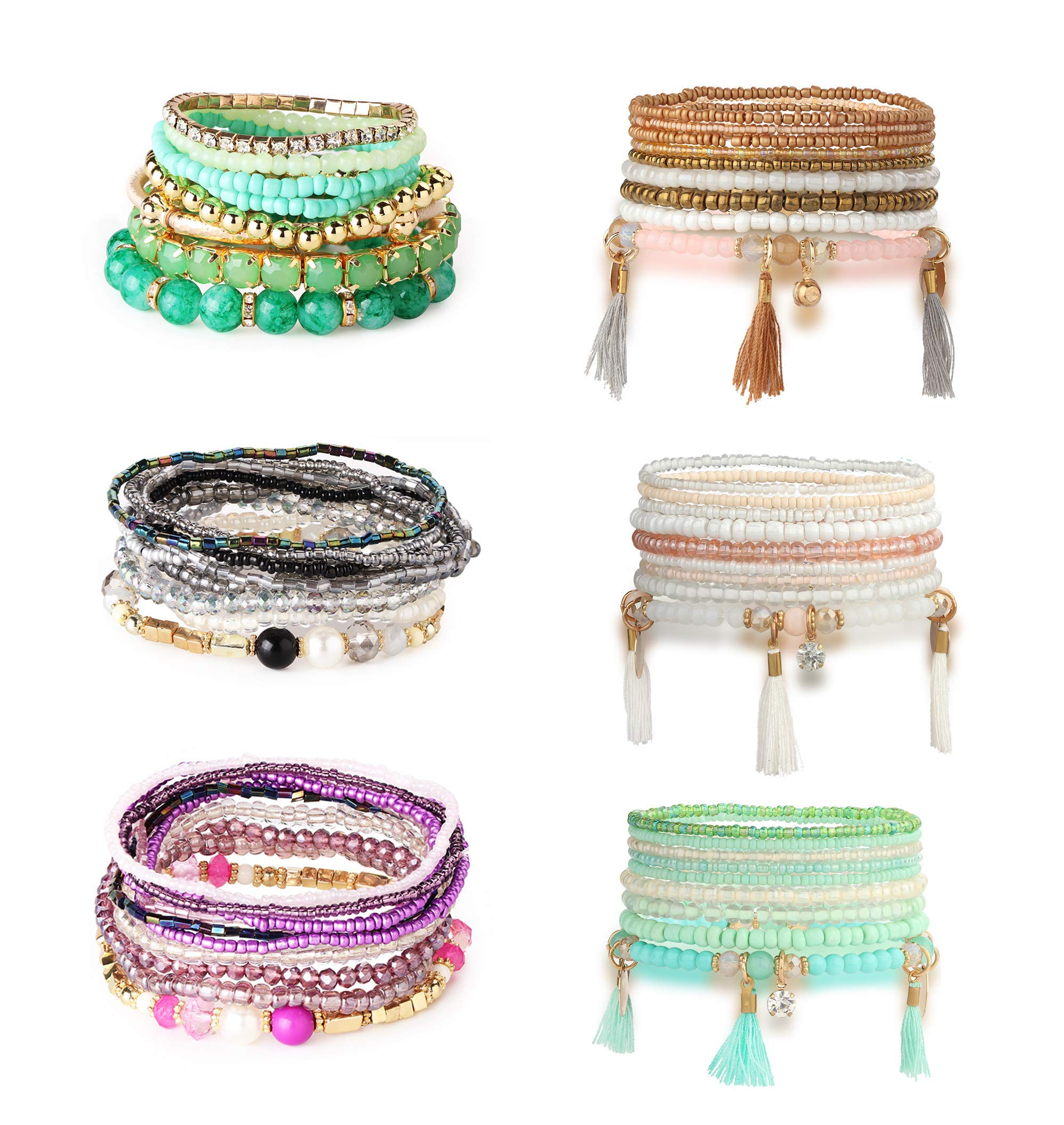 Hanpabum 6 Sets Bohemian Beaded Bracelets for Women Girls Multicolor Stretch Multilayered Stackable Bracelet Set by Hanpabum