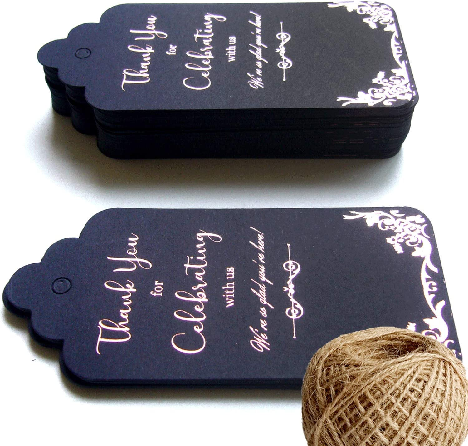 100 Deep Blue Thank You Tags for Favors, Rose Gold Foil Gift Wrap Tags with String (328 Feet Twine) Thank You for Celebrating with Us Tags for Wedding Favors, Bridal Shower, Baby Shower, Party Favors