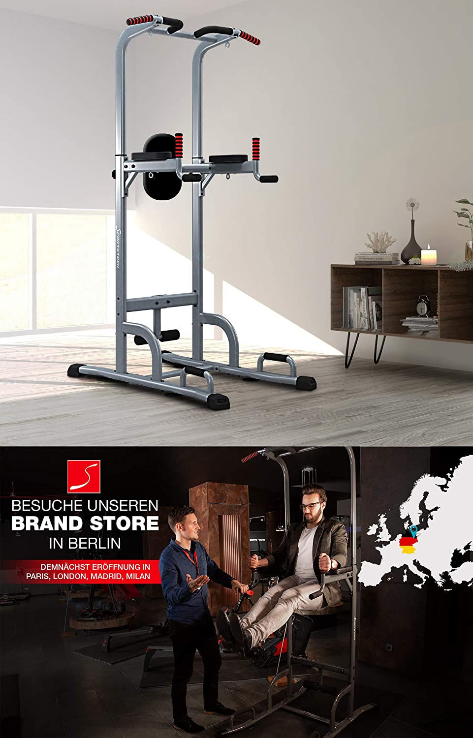 Sportstech 7 in1 Power Tower PT300 es una DIP Station, Power Tower & gymtower, Power Station multifuncional para casa con barra dominadas, piegamenti y 4 ...