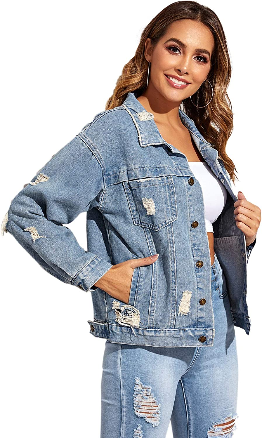 Floerns Womens Casual Ripped Button Down Long Sleeve Jean Denim Jacket