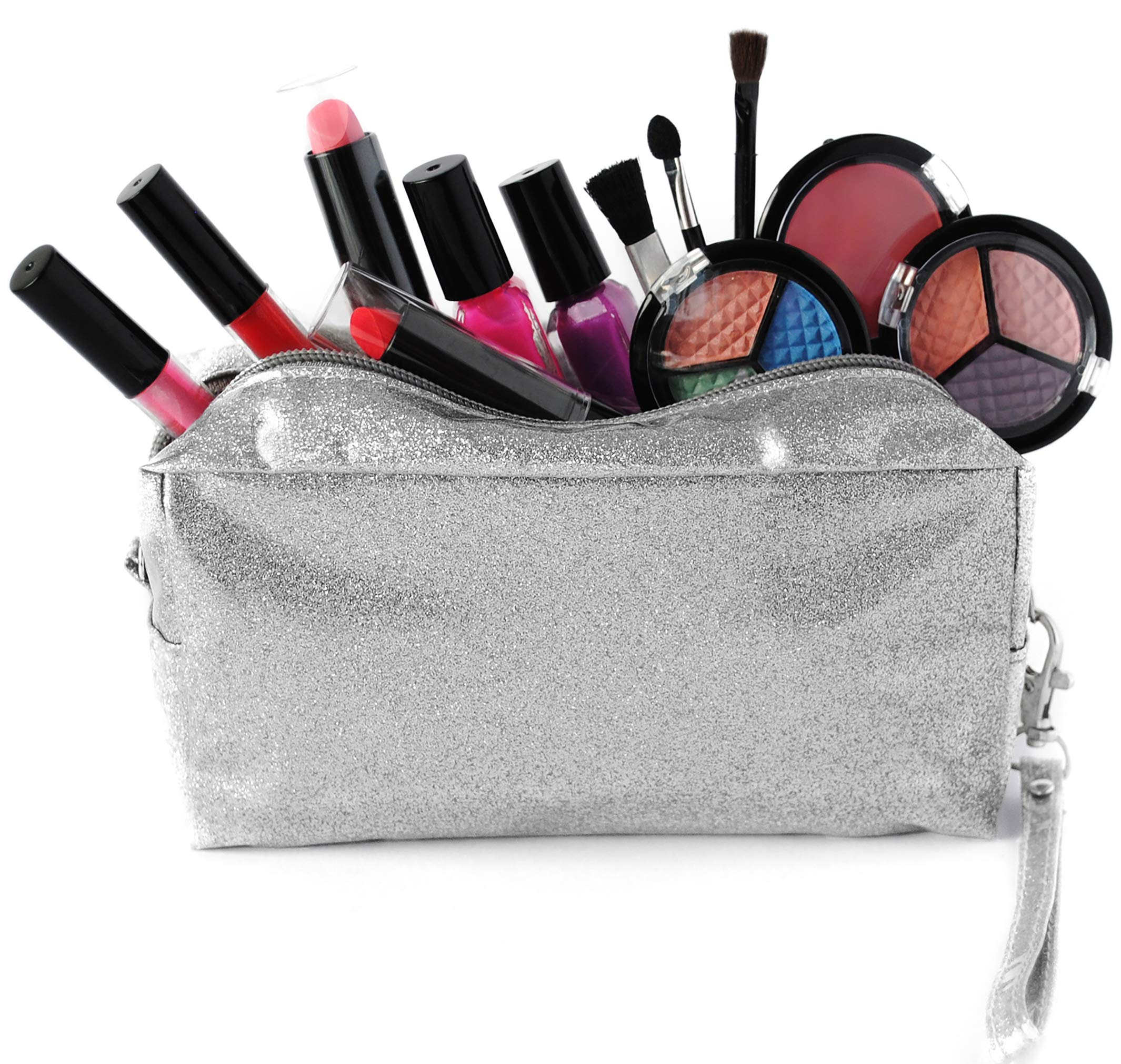 SmartEmily Girls Toys - Kids Makeup kit for Girl with Glitter Cosmetic Bag, Perfect Play Makeup for Girls and Teens, Washable and Non Toxic, Real Make up Set, Best Birthday Gifts for Girls, Silver by SmartEmily
