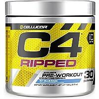 C4 Ripped Pre Workout Powder Icy Blue Razz | Creatine Free + Sugar Free Preworkout Energy Supplement for Men & Women…