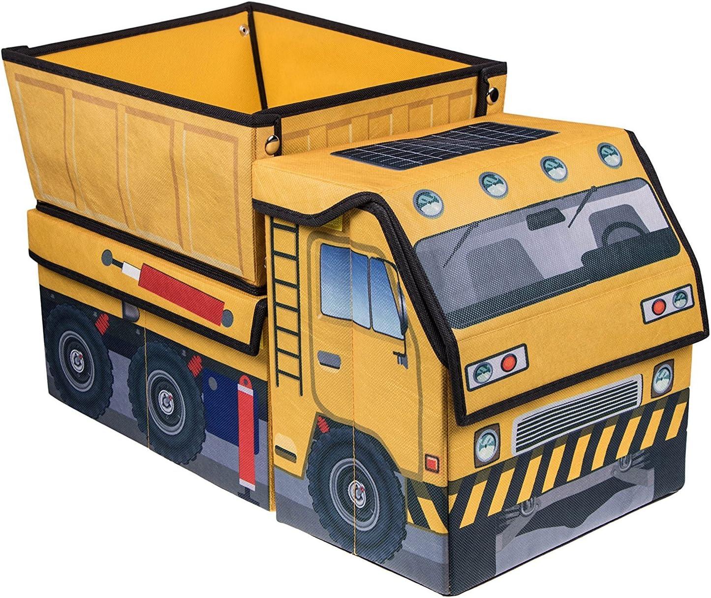 Scatola pieghevole per giochi autocarro cantiere giallo e nero