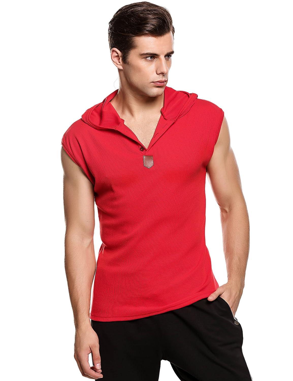 Bluetime Men's Summer Casual Hooded Sleeveless T-shirt Tank Tops
