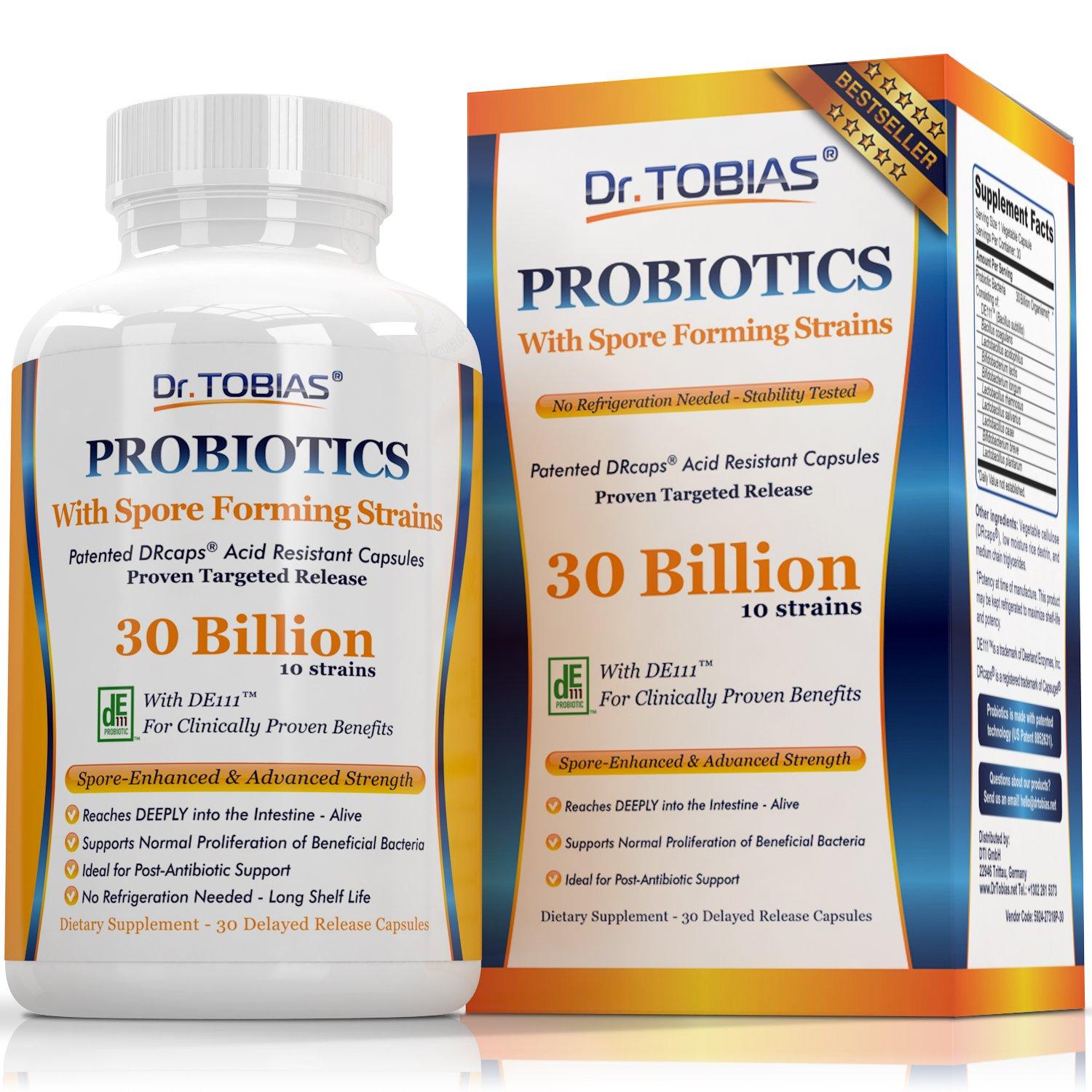 Dr. Tobias Probiotics for Women and Men: 30 Billion CFUs, 10 Strains, Delay Release & Spore Forming Strains - Probiotic Supplement for Women and Men - Great for Post-Antibiotic, Health & Gut Support