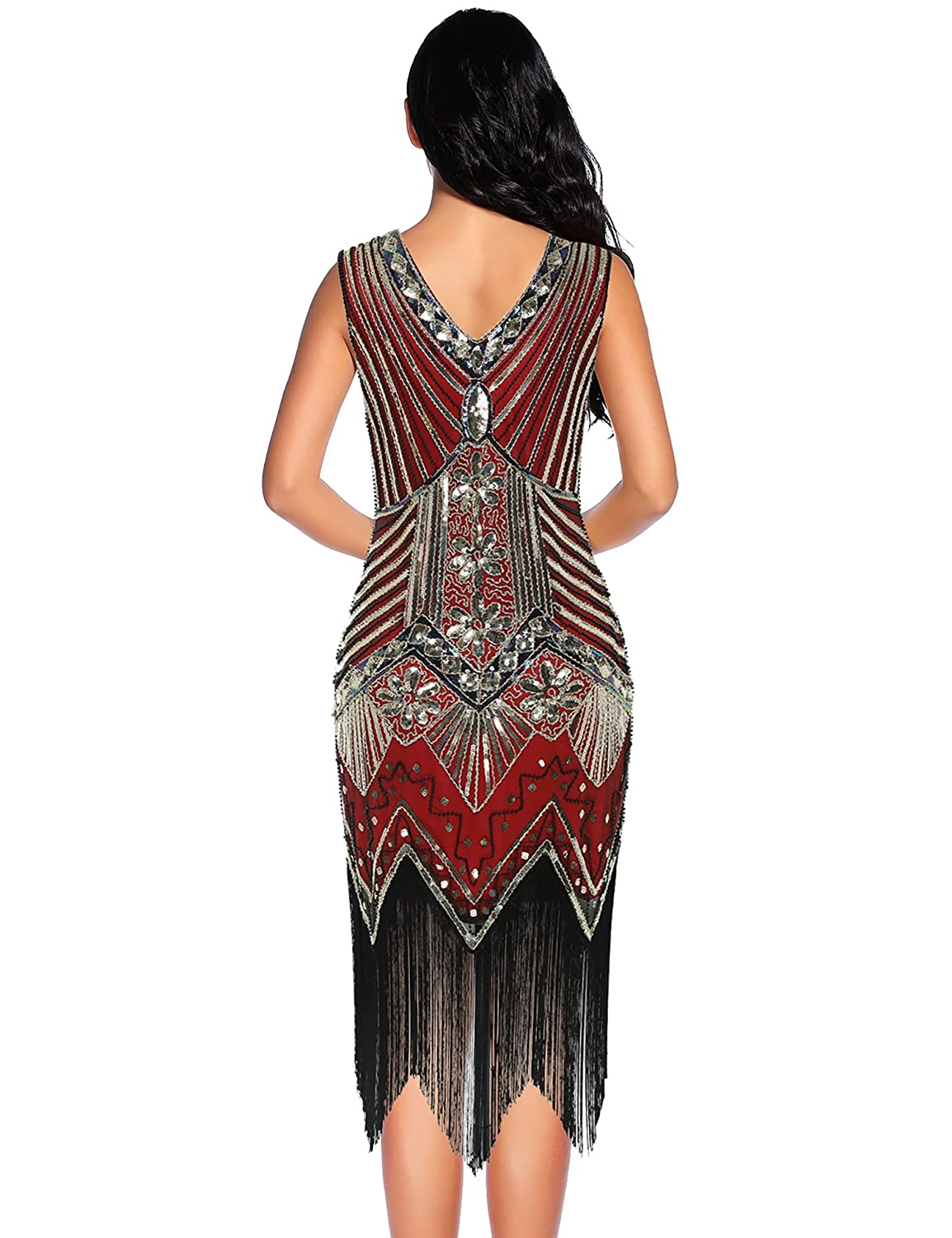 NeeMee Womens 1920s Gastby Sequin Embellished Fringed Flapper Dress