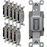 10 Pack Grounding Screw 81200-GR-10PCS Single Pole 20A 120-277V Gray ENERLITES Toggle Light Switch Commercial Grade UL Listed