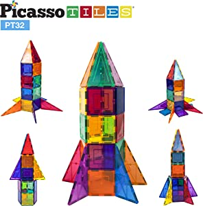 PicassoTiles 32 Piece Magnetic Building Block Rocket Booster Theme Set Magnet Construction Toy Educational Kit Engineering STEM Learning Playset Child Brain Development Stacking Blocks Playboard PT32