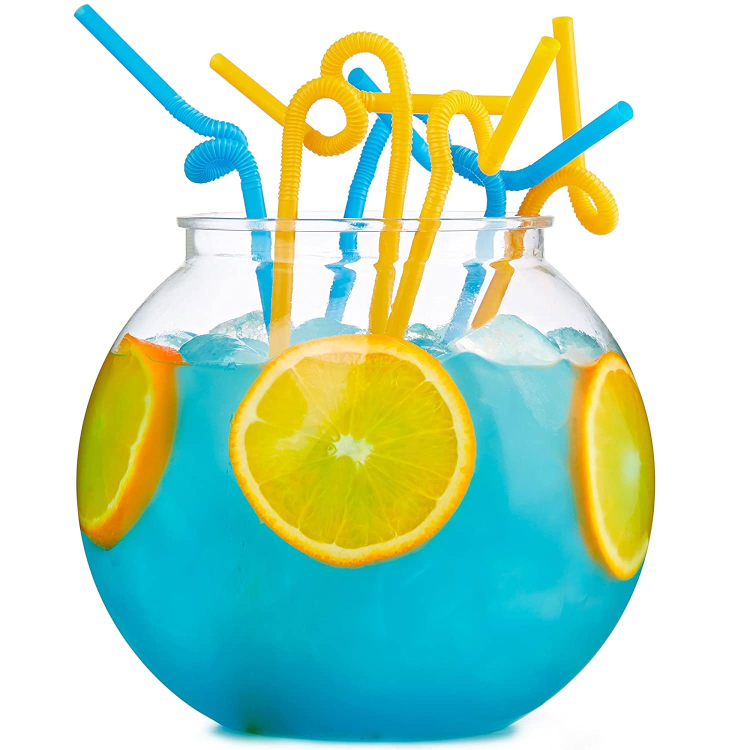 Andrew James Cocktail Fish Bowl Set with 30 Extra Long Plastic Straws | Extra Large 3 Litre Reusable Acrylic Drinks Bowl | Perfect Party Accessory
