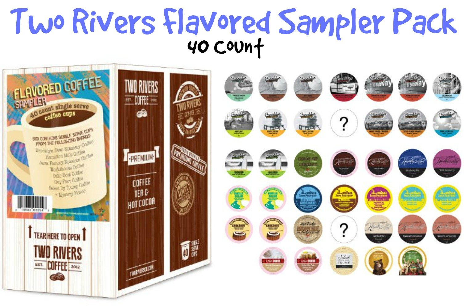 Two Rivers Flavored Coffee Single-Cup Sampler Pack for Keurig K-Cup Brewers, 40 Count by Two Rivers LLC (Image #5)