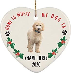 Lovesout Personalized Name Goldendoodle Gold Home is Where My Dog is Christmas Heart Ornament