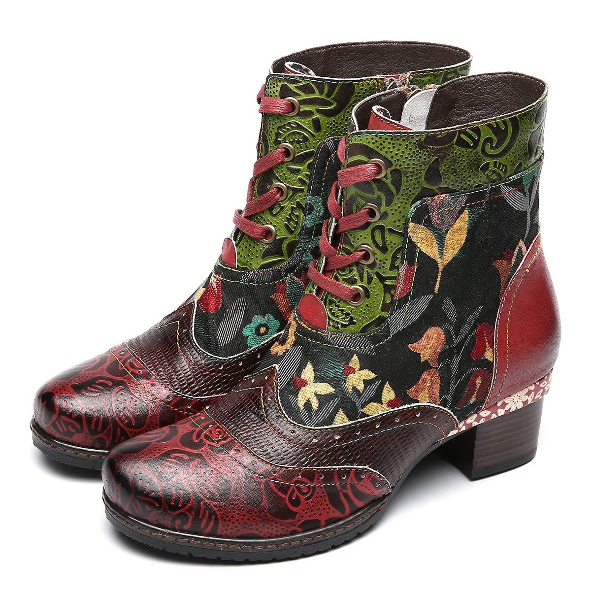 610449acdf2c94 Camfosy Bottines Cuir Femme Plates, Chaussures Ville Hiver à Talons Plats  Boots Bottes à Lacets avec Semelle Confortable pour Pieds Larges Design  Original ...
