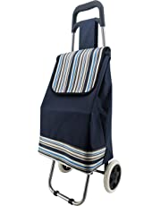 Shopping Trolley Cart Bag Foldable Wheels Carts Bags, Trolley for Shopping (Blue)