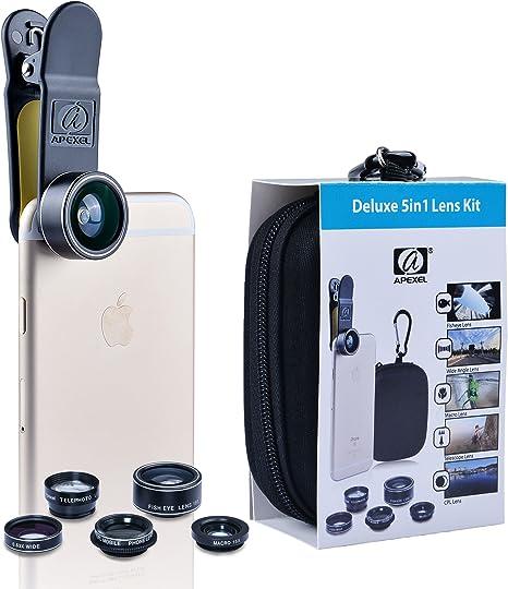 APEXEL Kit de Lente de cámara 5 en 1 HD 198 ° Lente Ojo de pez