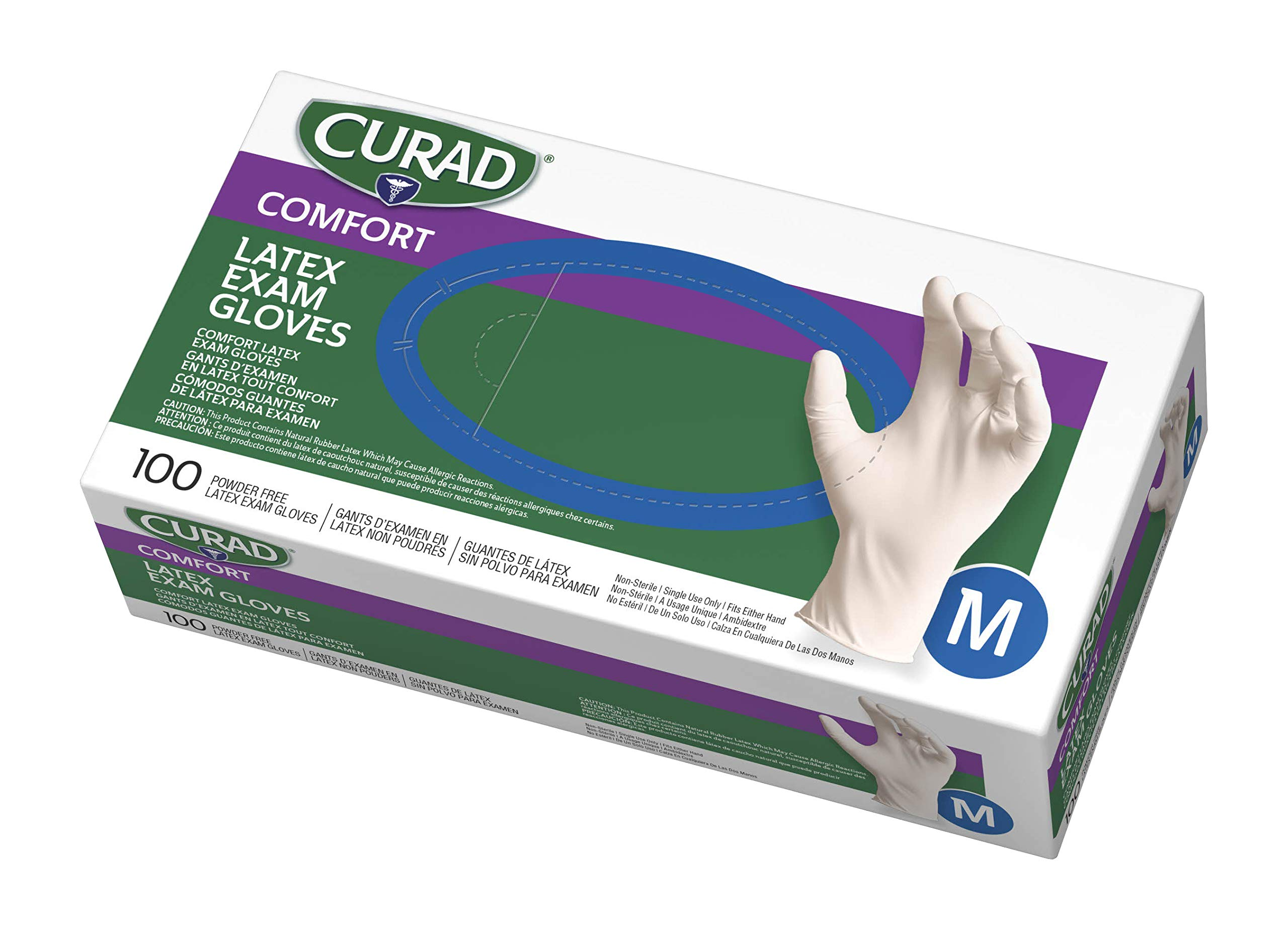 Curad Disposable Medical Latex Gloves, Powder Free Latex Gloves are Textured, Medium, Case of 10  (1000 Gloves) by Curad
