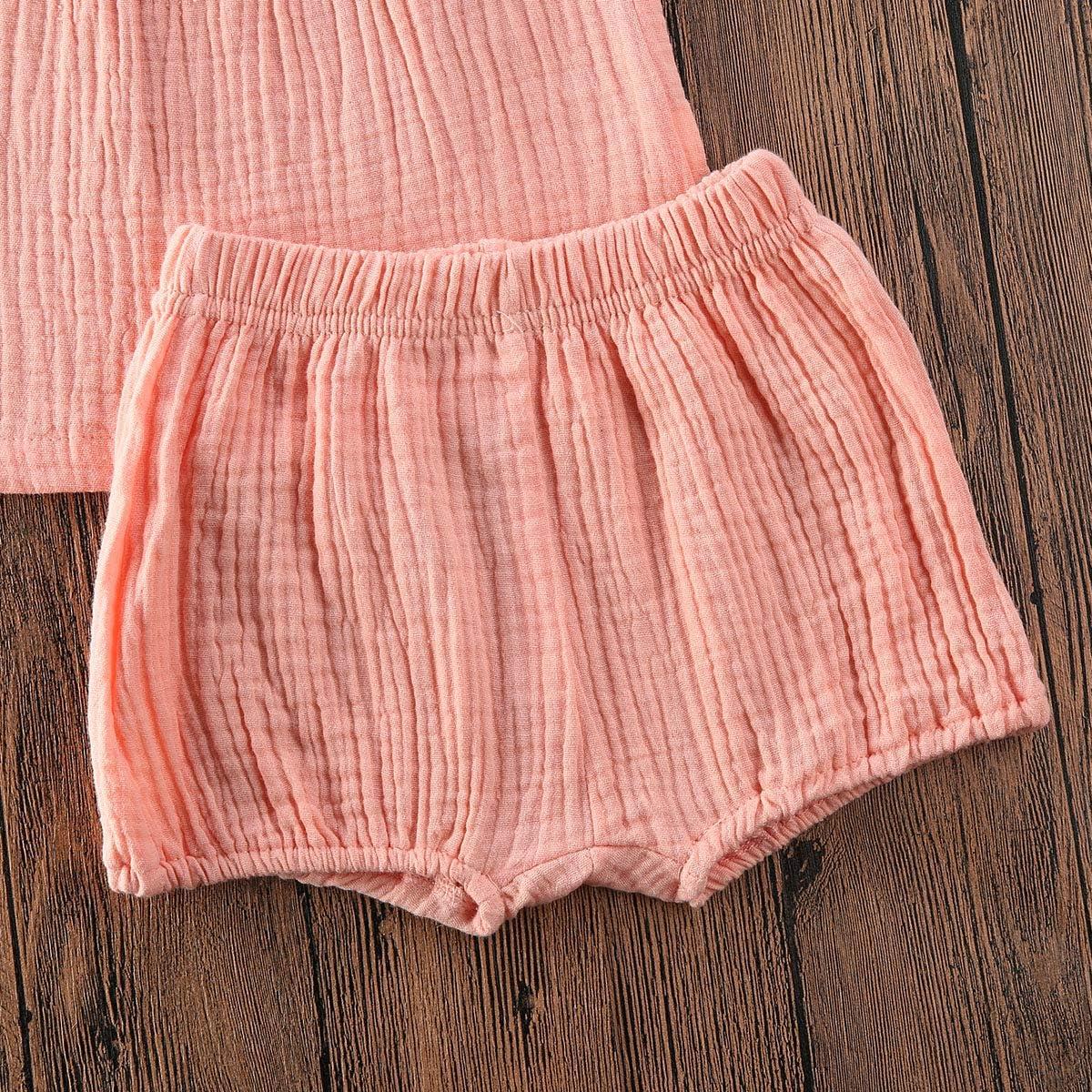 2 piezas Ropa para beb/é y ni/ña algod/ón y lino sin mangas pantalones cortos de verano Hnyenmcko