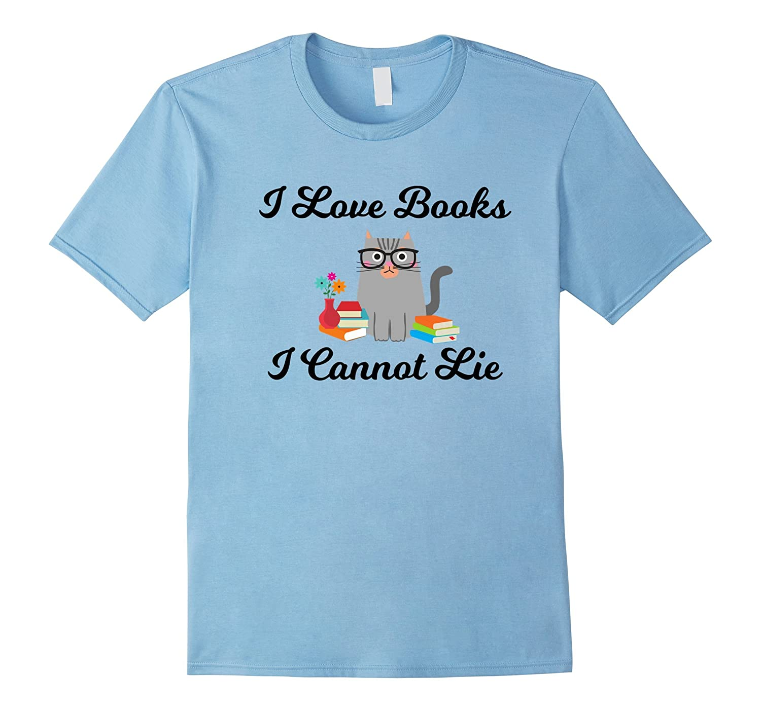 Cute I Love Books Nerdy Cat with Glasses Love To Read TShirt-T-Shirt