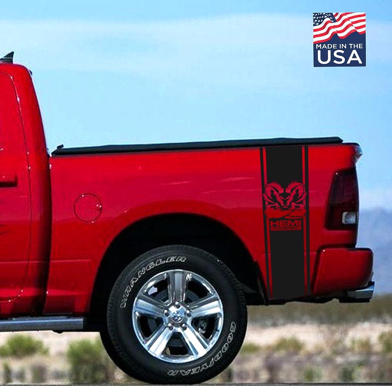 Dodge Ram HEMI Powered Muscle Rear Bed 2002-2018 Dodge Ram 1500 2500 Body Rear Side Bed Decals, Black Stripes Vinyl Stickers, racing Custom auto Graphics SRT hellcat, Mopar, Hemi 5.7 L Rebel