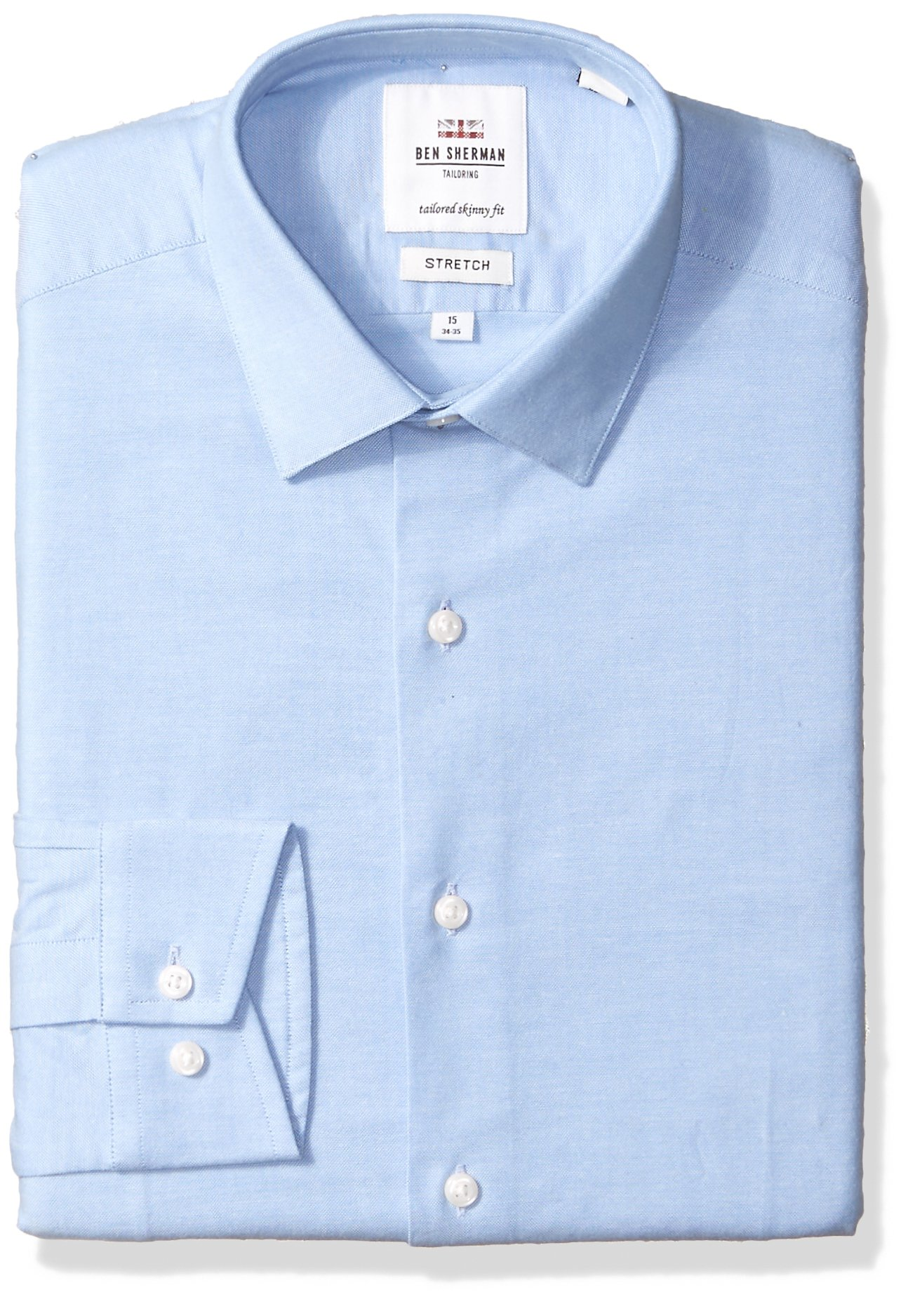 Ben Sherman Men's Stretch Oxford Skinny Fit Dress Shirt, Light Blue, 16'' Neck 34/35'' Sleeve by Ben Sherman