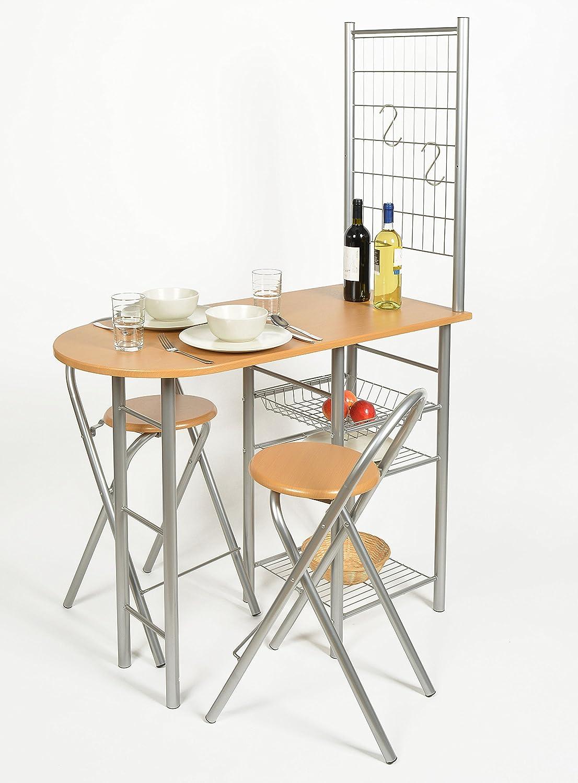 ts-ideen Juego de Comedor Desayuno Mesa + 2 Sillas Cocina Oficina ...