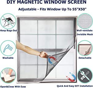 Adjustable Magnetic Window Screen fit Windows Up to 55