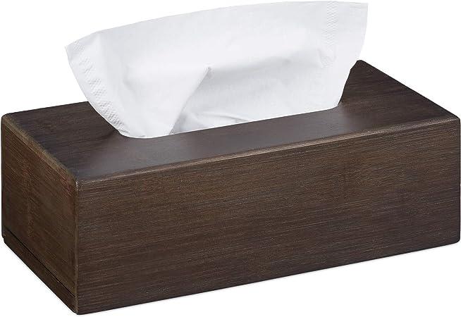 Relaxdays, 7,5 x 24 x 12 cm, Marrón Oscuro Caja para pañuelos de bambú, Portapañuelos con Suelo Deslizante: Amazon.es: Hogar