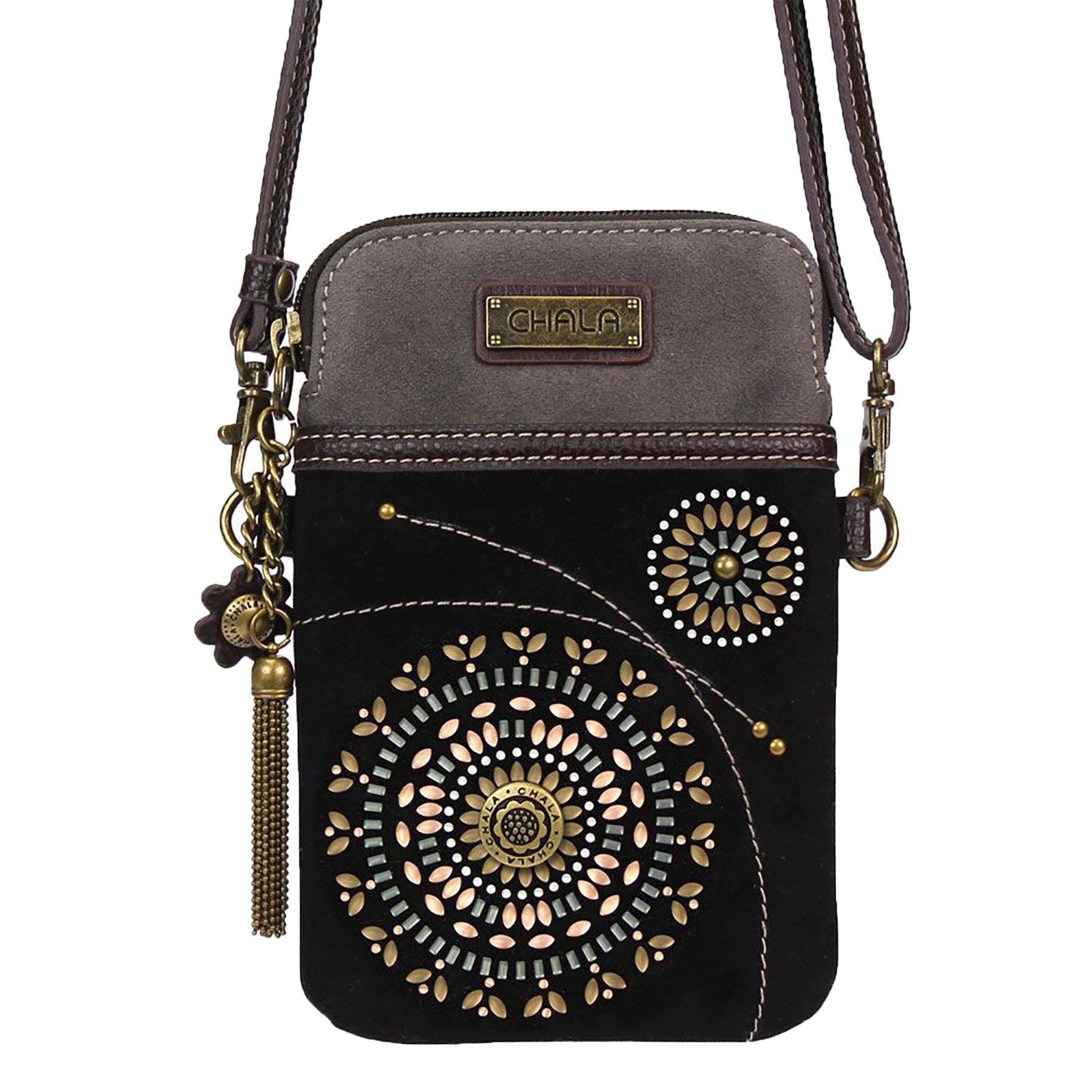 Chala Crossbody Cell Phone Purse - Women Faux Suede Multicolor Handbag with Adjustable Strap - Starburst - Black