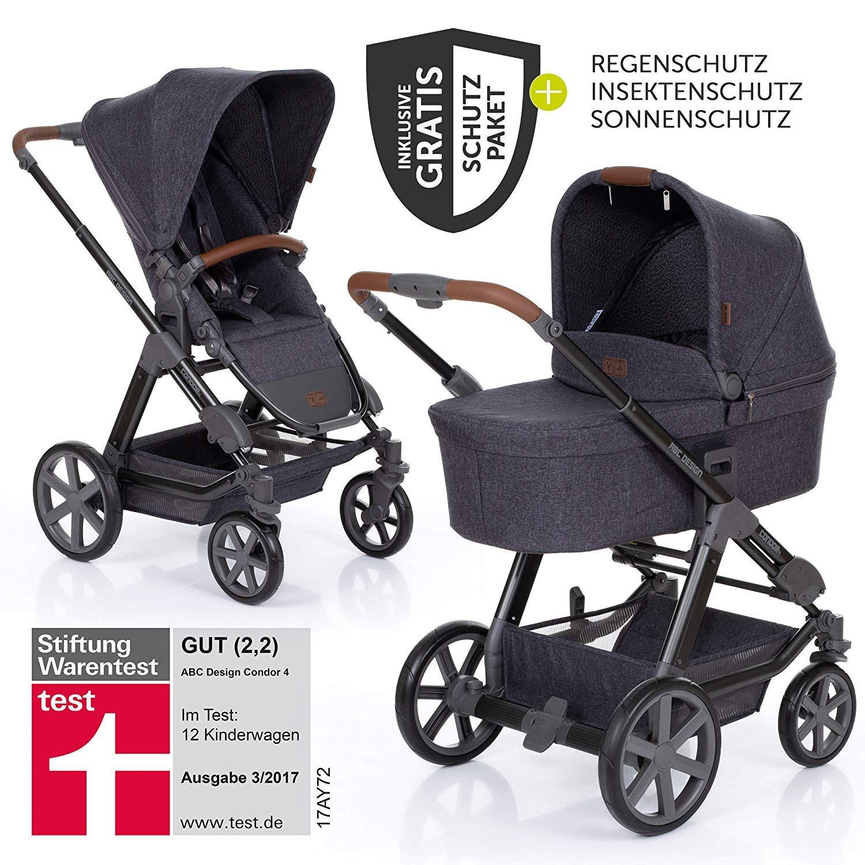 XXL Kinderwagen Set 2in1 - Kombikinderwagen Street 2019 Insektenschutz Babywanne Sportwagen Regenschutz Sonnensegel ABC Design Condor 4 inkl