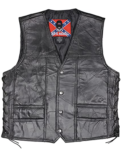 USA Sons Of Cannabis Leaf Patch Vest - Genuine Buffalo-leather
