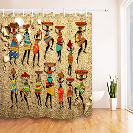 LB Afro Shower CurtainAfrocentric Artwork Women In Tribal Dresses Carrying Water History Art Print