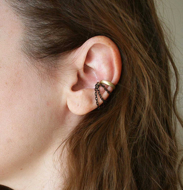Amazon Com Ear Cuff No Piercing Chain Gold Brass Black Conch