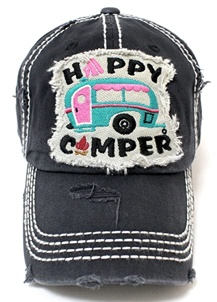 568c29025b5d2 Women s Happy Camper Camp Fire Patch Embroidery Baseball Hat-BLK PNK ...