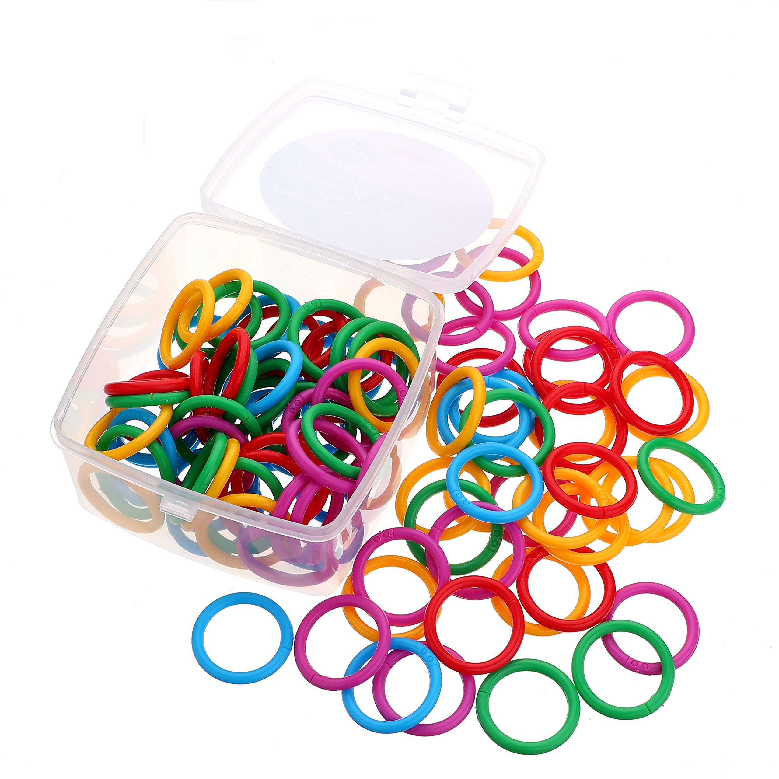 Nikki house Plastic Loose- Leaf Rings Multi-Color Binder Rings .Flexible Plastic Book Rings for Scrapbook Notebook Keychain Pack of 100( Product Thickness :0.177inch) by Nikki House