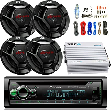 Single-DIN AM//FM Radio USB AUX Car Stereo Bluetooth Receiver Bundle Combo with 2 Pairs of DR Series 6.5 Inch 300 Watt 2-Way Upgrade Audio Stereo Coaxial Speakers 50 Foot 16 Gauge Speaker Wire
