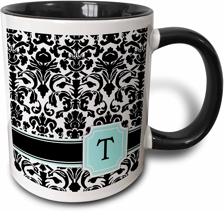 3dRose Letter T Personal Monogrammed Mint Blue And White Damask Pattern Mug, 11 oz, Black