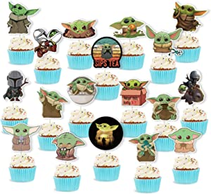 Cute Yoda Cupcake Topper Cake Topper Birthday Cake Decor Party Supplies For Kids Adults Yoda Star theme Birthday Party Baby Shower Decor 48 Counts