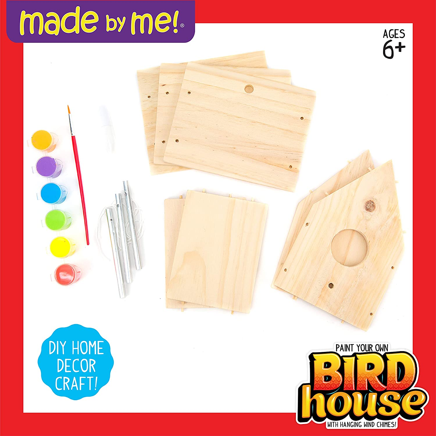 Including Paint And Brush Terby DIY Birdhouse Set-Build And Paint Birdhouse Woodwork Creative graffiti coloring pendant crafts gifts garden yard bar Cafe hallway outdoor porch decor